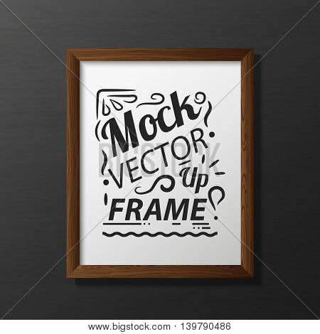 Vector illustration with the image and the object of the wooden frame, the empty frame for the illustrations inside. Frame for design. Frame in the style of photorealism.