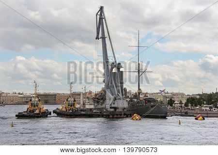 St. Petersburg, Russia - 16 July, Work on the formulation of the legendary cruiser, 16 July, 2016. Statement of the legendary cruiser