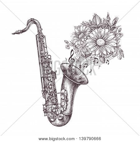 Jazz music. Hand drawn sketch a saxophone, sax and flowers. Vector illustration