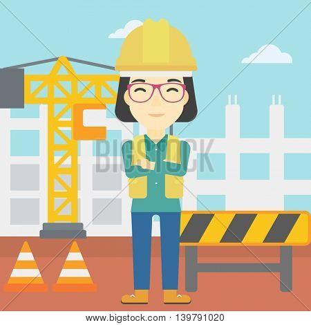 An asian female builder with arms crossed. Confident builder on a background of construction site. Builder in helmet on background of road works. Vector flat design illustration. Square layout.