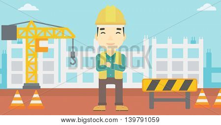An asian builder with arms crossed. Confident builder on a background of construction site. Builder in helmet on background of road works. Vector flat design illustration. Horizontal layout.