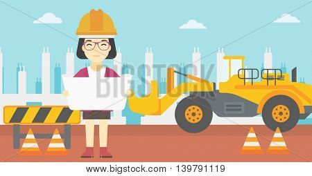 An asian engineer watching a blueprint at construction site. Woman with engineer blueprint. Engineer holding a blueprint. Vector flat design illustration. Horizontal layout.