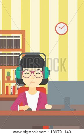 Asian woman playing computer game on the background of living room. Gamer in headphones playing online games. Gamer using computer for playing game. Vector flat design illustration. Vertical layout.