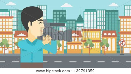 An asian young cameraman looking through movie camera. Man with professional video camera in the city. Cameraman shooting outdoor. Vector flat design illustration. Horizontal layout.