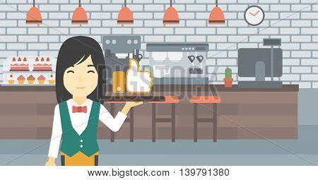 An asian young waitress carrying tray with like button. Waitress holding restaurant tray with like button on a cafe background. Vector flat design illustration. Horizontal layout.