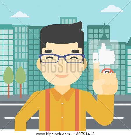 An asian young man pressing like button. Man pressing modern social button with thumb up. Man pressing social network buttonon a city background. Vector flat design illustration. Square layout.