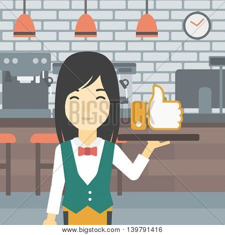 An asian young waitress carrying tray with like button. Waitress holding restaurant tray with like button on a cafe background. Vector flat design illustration. Square layout.