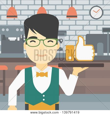 An asian young waiter carrying tray with like button. Waiter holding restaurant tray with like button on a cafe background. Vector flat design illustration. Square layout.