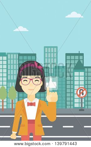 An asian young woman pressing like button. Woman pressing modern social button with thumb up. Woman pressing social network button. Vector flat design illustration. Vertical layout.