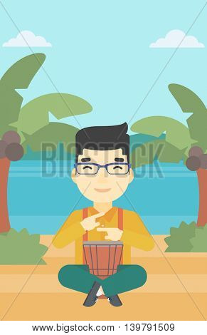 An asian man playing ethnic drum. Mucisian playing ethnic drum on the beach. Man playing ethnic music on tom-tom. Vector flat design illustration. Vertical layout.