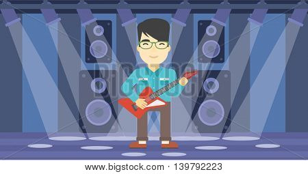 An asian young musician playing electric guitar on the stage of nightclub. Man practicing in playing guitar. Guitarist playing music. Vector flat design illustration. Horizontal layout.