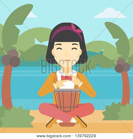 An asian young woman playing ethnic drum. Mucisian playing ethnic drum on the tropical beach. Woman playing ethnic music on tom-tom. Vector flat design illustration. Square layout.