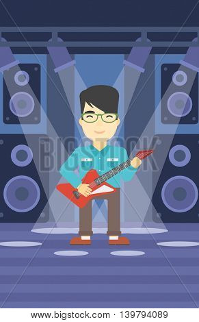 An asian young musician playing electric guitar on the stage of nightclub. Man practicing in playing guitar. Guitarist playing music. Vector flat design illustration. Vertical layout.
