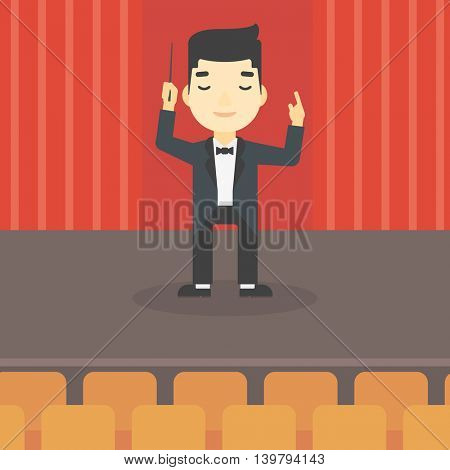 An asian young orchestra conductor directing with baton. Concentrated man conducting an orchestra on the stage. Vector flat design illustration. Square layout.