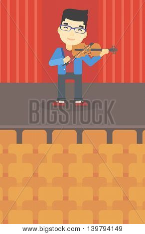 An asian young man playing violin. Violinist playing classical music on violin. Man with violin standing on the stage. Vector flat design illustration. Vertical layout.