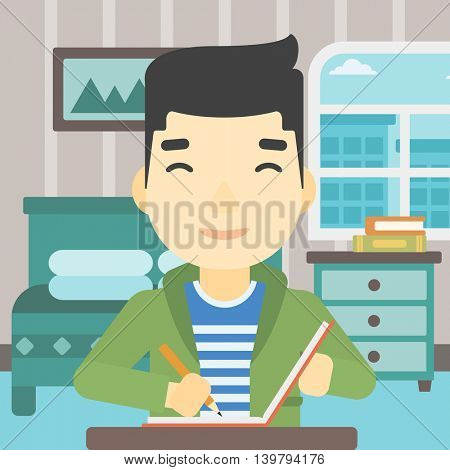An asian journalist sitting at the table and writing in notebook with pencil. Journalist writing notes on the background of bedroom . Vector flat design illustration. Square layout.