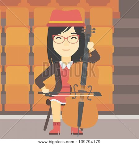 An asian young woman playing cello. Cellist playing classical music on cello. Young woman with cello and bow on the background of empty theater seats. Vector flat design illustration. Square layout.
