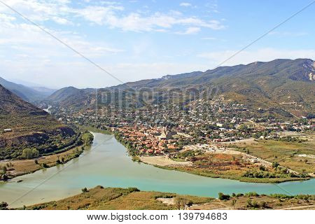 View of Mtskheta and river junction on mountains Mtskheta, Georgia