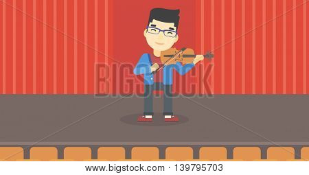 An asian young man playing violin. Violinist playing classical music on violin. Man with violin standing on the stage. Vector flat design illustration. Horizontal layout.