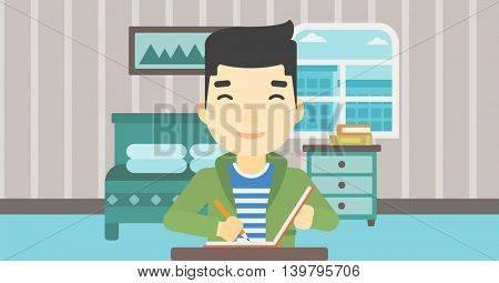 An asian journalist sitting at the table and writing in notebook with pencil. Journalist writing notes on the background of bedroom . Vector flat design illustration. Horizontal layout.