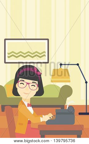 An asian female journalist writing an article on a vintage typewriter on the background of living room. Female journalist at work smoking pipe. Vector flat design illustration. Vertical layout.