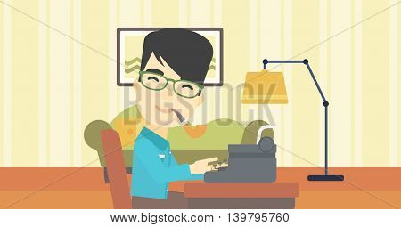 An asian journalist writing an article on a vintage typewriter on the background of living room. Journalist at work smoking pipe. Vector flat design illustration. Horizontal layout.