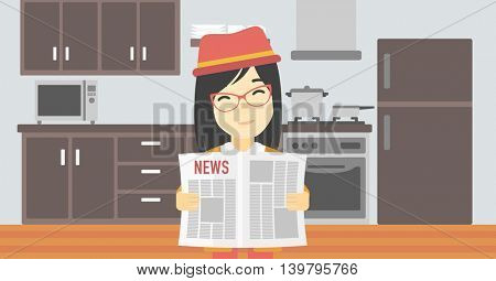 An asian happy woman reading the newspaper. Young smiling woman reading good news. Woman with newspaper in hands on the background of kitchen. Vector flat design illustration. Horizontal layout.