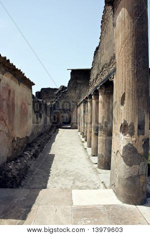 Ruins of ancient  Pompeii in Italy.