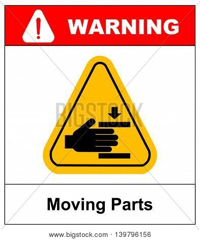 Set of danger Moving Parts signs in yellow triangle with hands, vector illustration warning banner