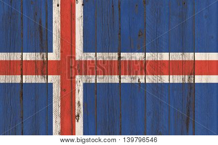 Flag of Iceland painted on wooden frame