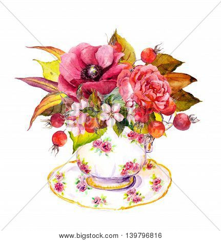 Tea cup design with rose flowers, autumn leaves, berries and vintage feathers. Autumn watercolor for teatime party
