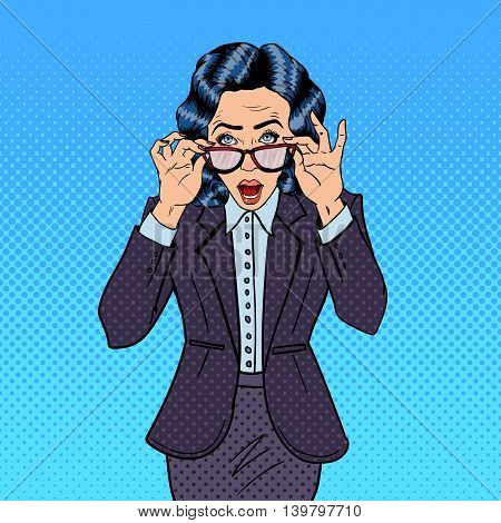 Surprising Business Woman Wearing Eyeglasses. Pop Art. Vector illustration