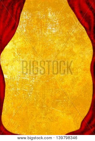 Theater Stage with red curtain, golden vintage background