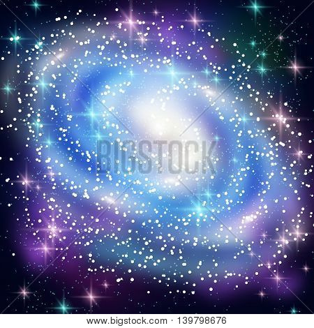 Blue Spiral Galaxy with Shining Stars. Vector illustration. Glowing Outer Space Background.