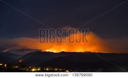 Sand Fire Above California Neighborhood
