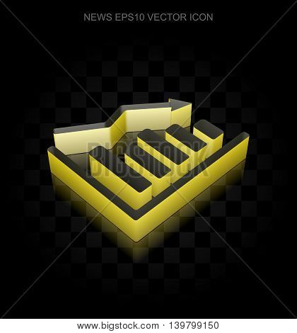 News icon: Yellow 3d Decline Graph made of paper tape on black background, transparent shadow, EPS 10 vector illustration.