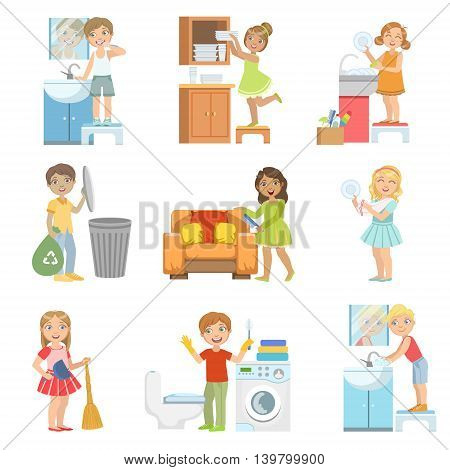 Kids Doing A Home Cleanup Set Of Simple Design Illustrations In Cute Fun Cartoon Style Isolated On White Background