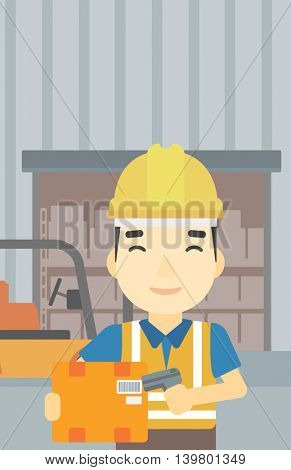 An asian warehouse worker scanning barcode on box. Warehouse worker checking barcode of box with a scanner. Man in hard hat with scanner. Vector flat design illustration. Vertical layout.