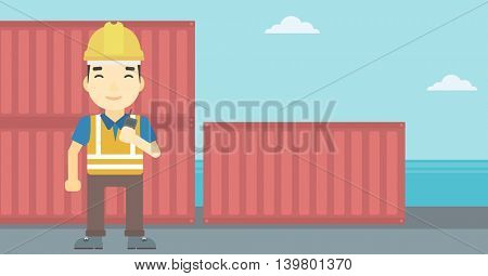 An asian port worker talking on wireless radio. Port worker standing on cargo containers background. Man using wireless radio. Vector flat design illustration. Horizontal layout.