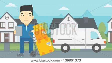 An asian delivery man with cardboard boxes on troley. Delivery man with clipboard. Man standing in front of delivery van. Vector flat design illustration. Horizontal layout.