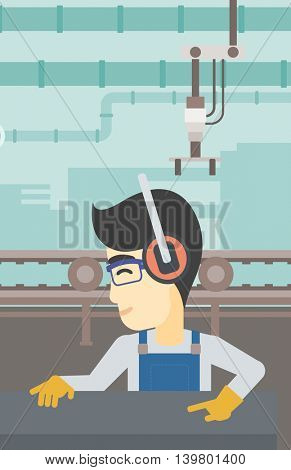 An asian man working on metal press machine. Worker in headphones operating metal press machine at factory workshop. Vector flat design illustration. Vertical layout.