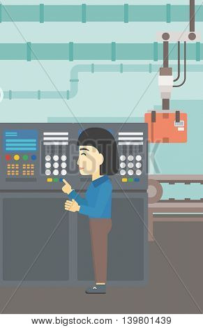 An asian woman working on control panel. Woman pressing button at control panel in plant. Engineer standing in front of the control panel. Vector flat design illustration. Vertical layout.