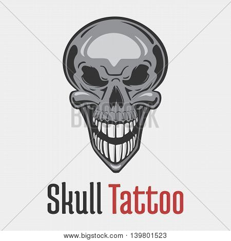 Wide smiling skeleton skull tattoo showing his teeth. Dead and evil, terrifying and fearsome, scary and spooky, grim emblem or mascot design. Concept of danger and hazard, horror