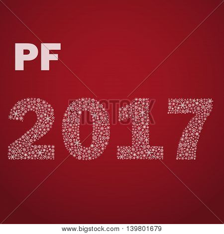 Red Happy New Year Pf 2017 From Little Snowflakes Eps10