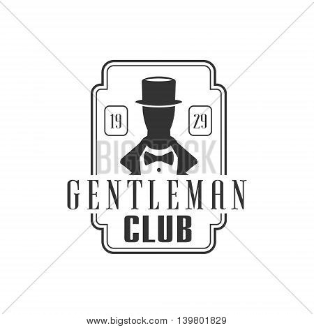Gentleman Club Logo Graphic Design. Black And White Emblem Vector Print poster