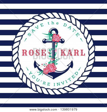 Nautical wedding invitation card. Cute template with anchor flowers and striped background. Vector illustration.