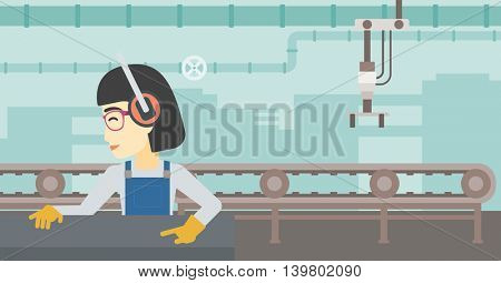 An asian woman working on metal press machine. Worker in headphones operating metal press machine at workshop. Woman using press machine. Vector flat design illustration. Horizontal layout.