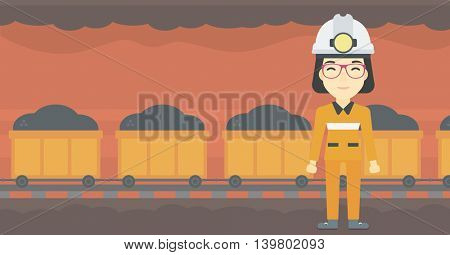 An asian confident coal miner. Female miner in hardhat with torch. Miner standing on the background of mining tunnel with cart full of coal. Vector flat design illustration. Horizontal layout. poster