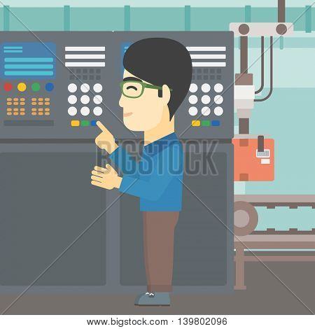 An asian man working on control panel. Man pressing button at control panel in plant. Engineer standing in front of the control panel. Vector flat design illustration. Square layout.