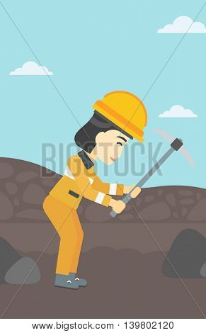 An asian female miner  working with a pickaxe. Mine worker in hard hat. Miner at the coal mine. Vector flat design illustration. Vertical layout.